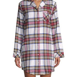 Lord + Taylor Flannel Plaid Sleep Shirt in Red